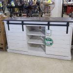 White Entertainment Center with Bran Doors