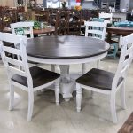Country Style White Table with 4 Chairs